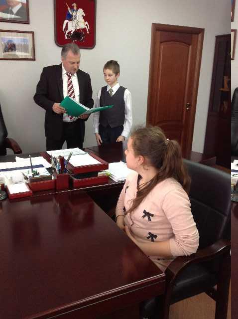 Победители проекта на встрече с главой управы Перово