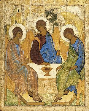 Знаменитая икона Троица Андрея Рублева